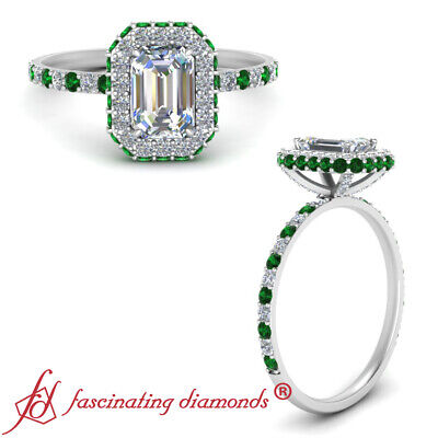 Hidden Halo Engagement Ring With Emerald Cut Diamond & Emerald Gemstone 1.35 Ctw