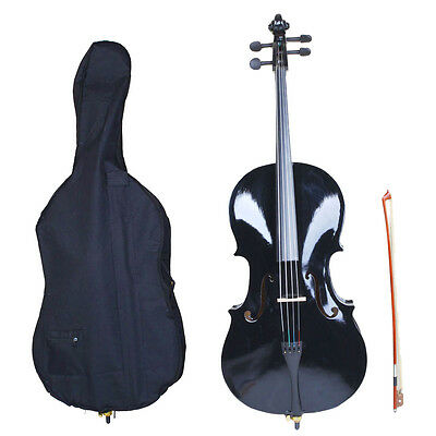 New 4/4 Size Professional Basswood Black Color Cello +Bag+Bow+Rosin+Bridge
