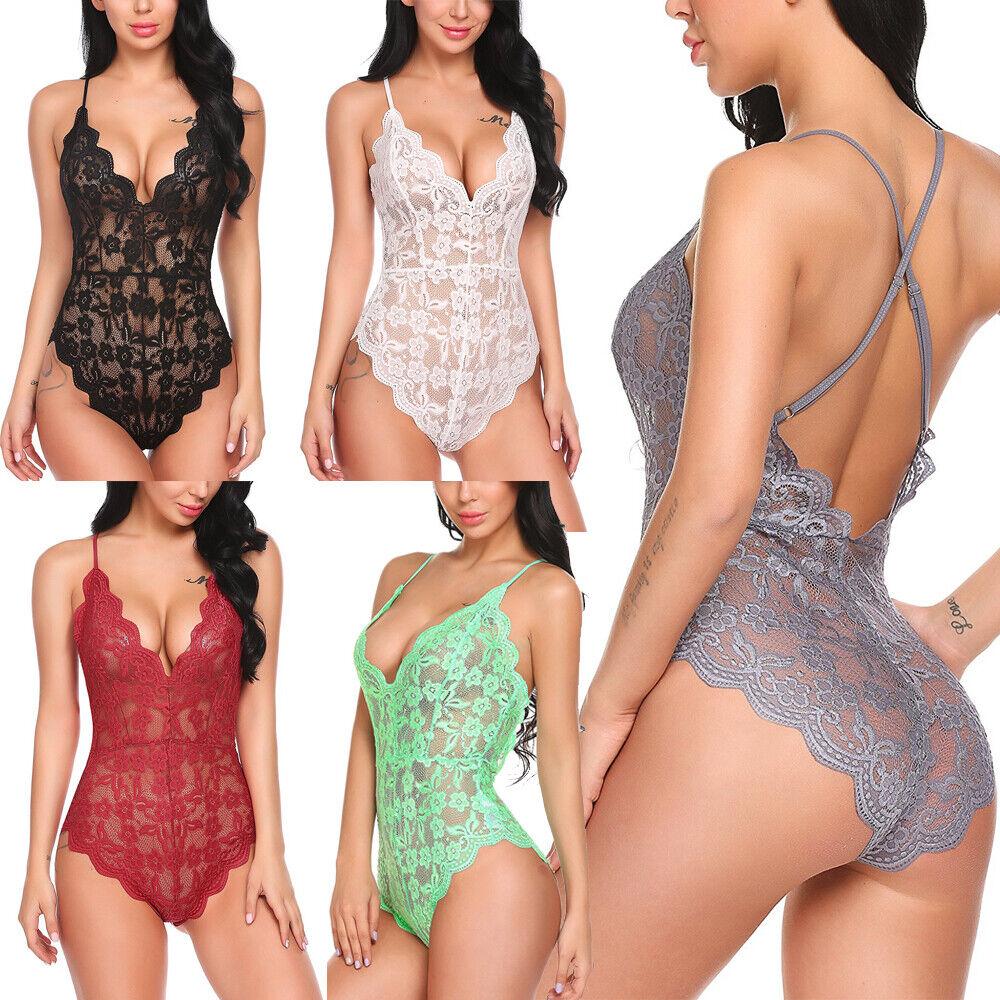 Women Sexy Deep V Lingerie Teddy One Piece Bodysuit Lace Babydoll Sleepwear US Bodysuits