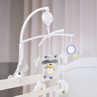 Baby Crib Mobile Bed Bell Holder Arm Bracket Wind-up Music Box Cot w/ Plush Toys