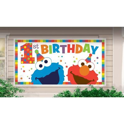 ELMO TURNS ONE BANNER Happy Birthday Party Wall Decoration Cookie Monster 1st  (Elmo First Birthday Party)