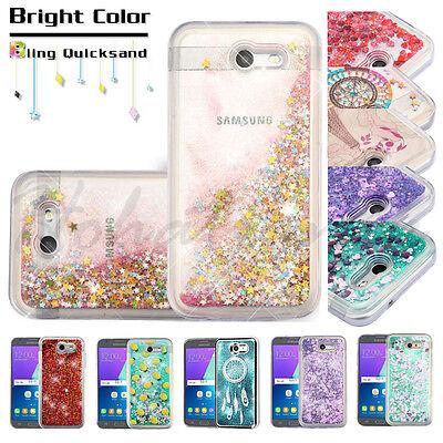 Samsung GALAXY J3 Emerge Bling Hybrid Liquid Glitter Rubber Protector Case Cover