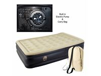 Queen Size Inflatable Raised Air Bed Flocked Matress Double Electric Pump Airbed