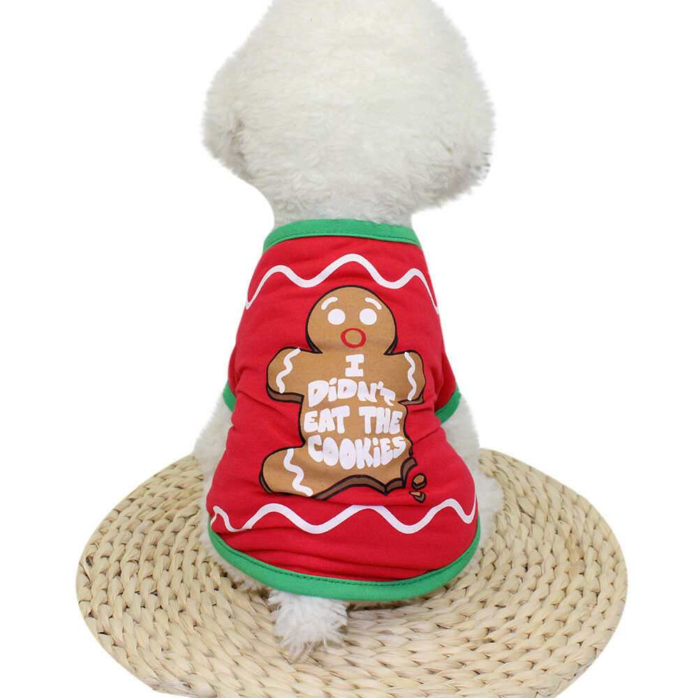 Christmas Pet Vest Dog Puppy Hoodie Sweater Top Xmas Warm Clothes Costume shirt