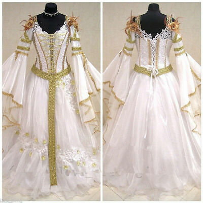 Vintage  Lace V Neck Wedding Dresses Celtic Halloween Long Sleeves Bridal Gown](Halloween Wedding Dresses)