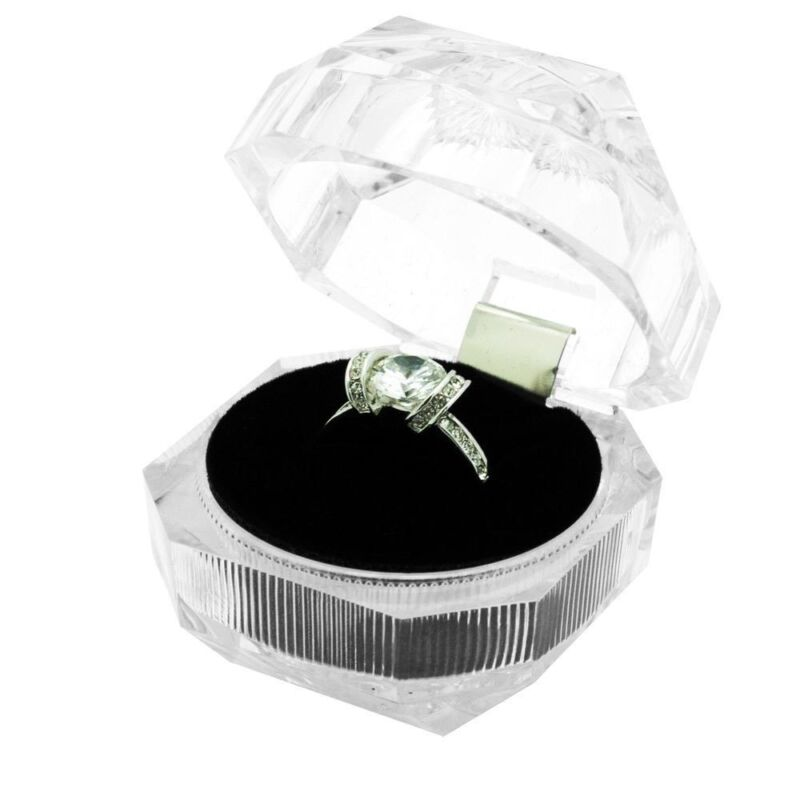 Wholesale Lot 24 Clear Crystal Style Ring Jewelry Display Packaging Gift Boxes