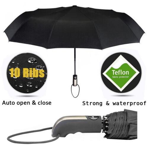 Black Automatic Compact Windproof Folding Umbrella Auto Open Close Button Strong