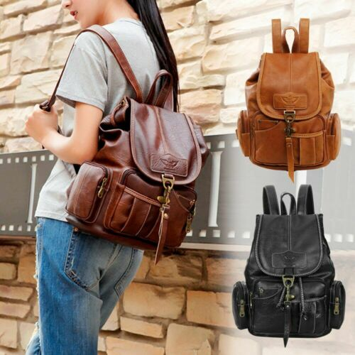 women girls leather backpack shoulder school satchel