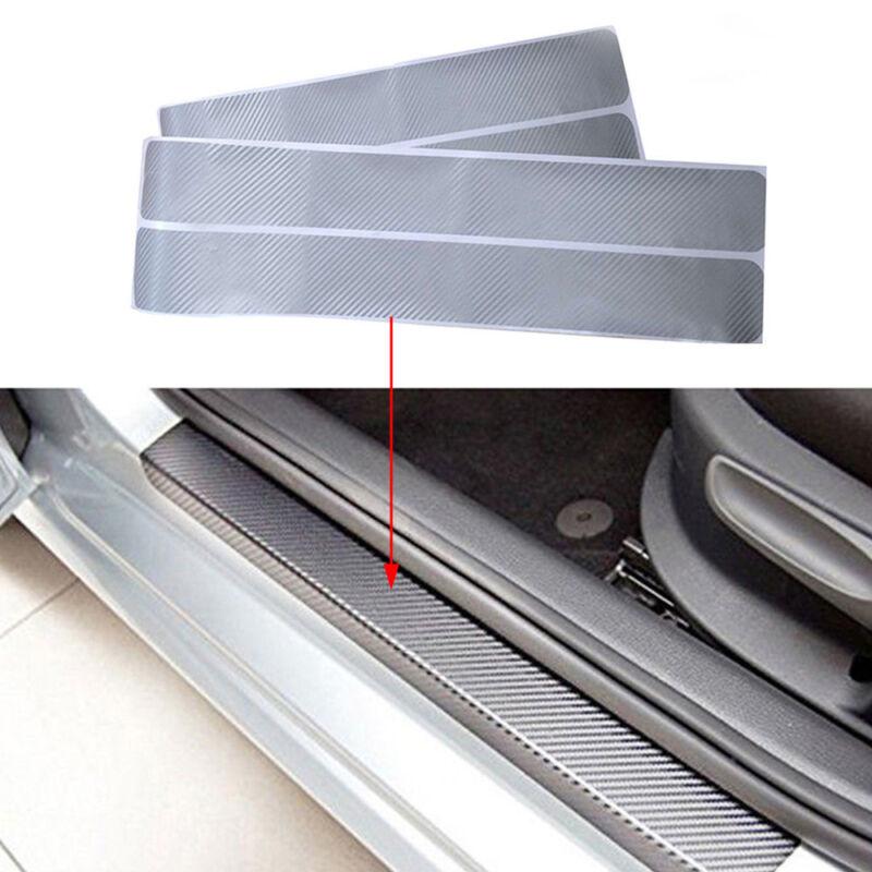 4Pc Carbon Fiber Look Car Door Plate Sill Scuff Cover Anti Scratch Sticker Tool