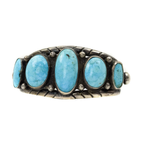 Navajo Persian Turquoise and Silver Bracelet c. 1930-40s, size 6.5