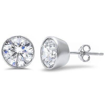 Round Brilliant Cut Bezel Set Cubic Zirconia .925 Sterling Silver Stud Earrings Cubic Zirconia Bezel Set Earrings