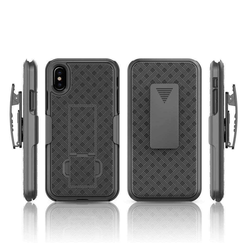 for iPhone X / iPhone 10 - Black Holster Swivel Belt Clip Hard Slim Case Cover