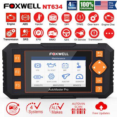 FOXWELL NT634 PRO Auto Diagnostic Tool OBD2 Scanner ABS Airbag SAS EPB Oil TPMS