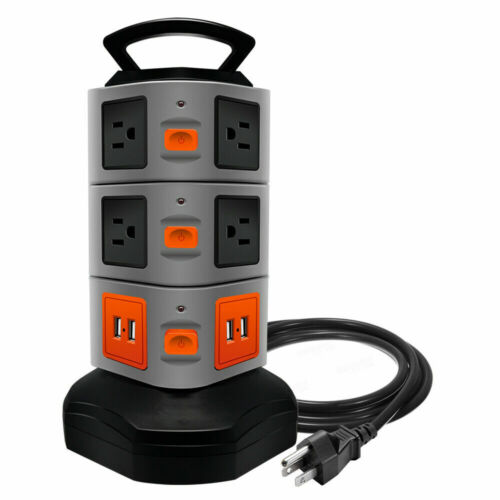 10 Outlet Plugs 4 USB Power Strip Tower, Surge Protector Charging Station