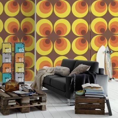 Gelb Braun und Orange Retro Luxus Tapete - Groß Groovy Kreise 7013-12