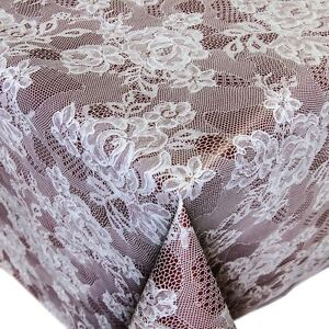 toile cir e nappe table au m tre avec motif roses mit imitation de dentelle ebay. Black Bedroom Furniture Sets. Home Design Ideas