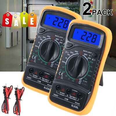 2 Digital Multimeter Meter Tester Acdc Voltage Auto Ranging Current Ohm Battery