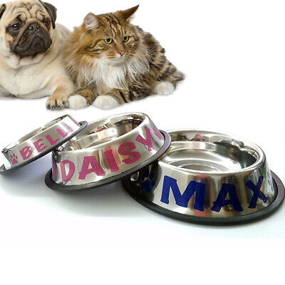 Personalized Stainless Steel Pet Bowl. For Pets. Dog, Cat. CUSTOM NAME.