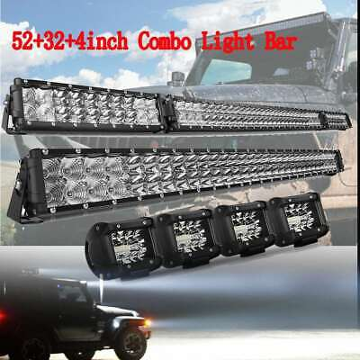 54Inch Curved Folding LED Light Bar +32inch + 4x 4