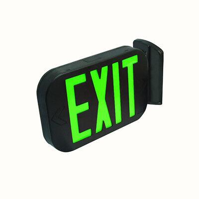 Etoplighting Green Black All Led Exit Sign Emergency Light Combo Ul924 Fd3ng-b