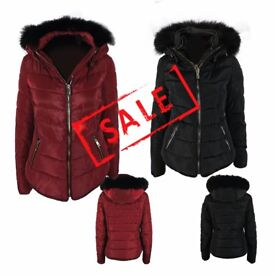 FREE DELIVERY AMAVISSE UK-NEW Women Clothes Fashion Tight Puffy Puffer Jacket with Faux Fur Hood Zip