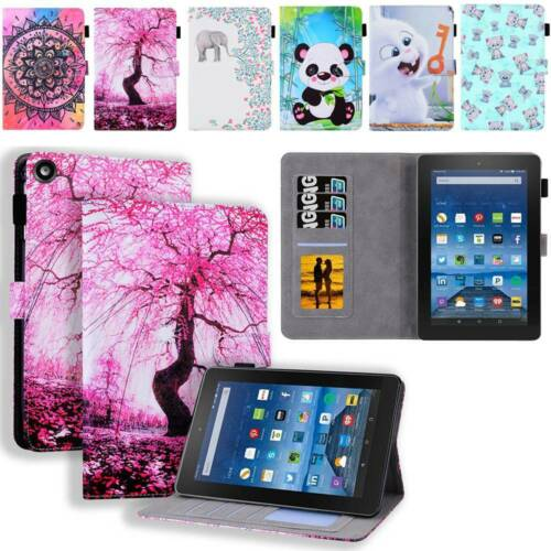 Leather Stand Wallet Case Cover Fr Amazon Fire HD 8 10 2015-