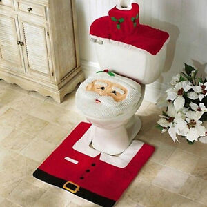 3 pcs christmas happy santa toilet seat cover and rug bathroom decoration set