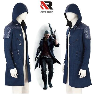 Devil May Cry 5 Nero Jacket Cosplay Costume Men's Blue Coat Casual Overcoat - Blue Devil Costume