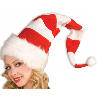 Costume Hats For Kids (Christmas Long Santa Claus Hats Adults Kids Red Costume Accessory Plush Xmas)