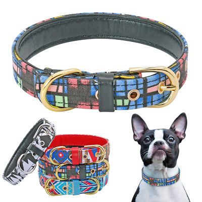 Print Cotton Dog Collar - Cotton & PU Leather Unique Painting Print Pet Dog Collar for Small Medium Dogs