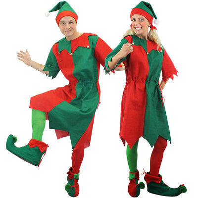 COUPLES ELF COSTUMES CHRISTMAS FANCY DRESS MENS WOMENS ADULT HIS AND HERS](His And Hers Fancy Dress Costumes)