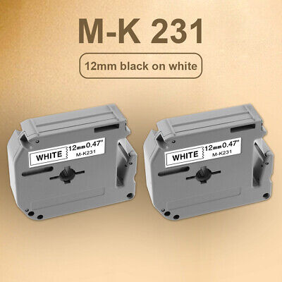 2pk Mk231 M-k231 Label Tape For Brother P-touch Label Maker 12mm Black On White