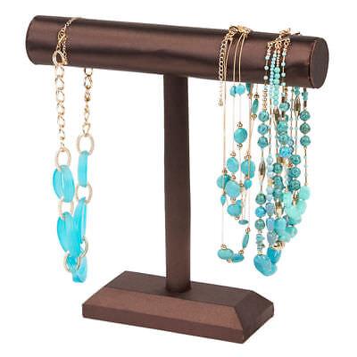 """2 Single Tier T-Bar Bracelet Displays Brown Satin Jewelry Showcase 12"""" x 12"""""""