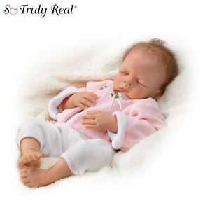 Ashton-Drake Sleeping Lifelike Baby Doll By Waltraud Hanl With RealTouch Skin