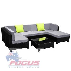 7 pcs Black Wicker Rattan 6 Seater Outdoor Lounge Set Grey North Melbourne Melbourne City Preview