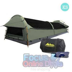 KingSingle Camping Canvas Swag Tent Celadon W/ Air Pillow Melbourne CBD Melbourne City Preview