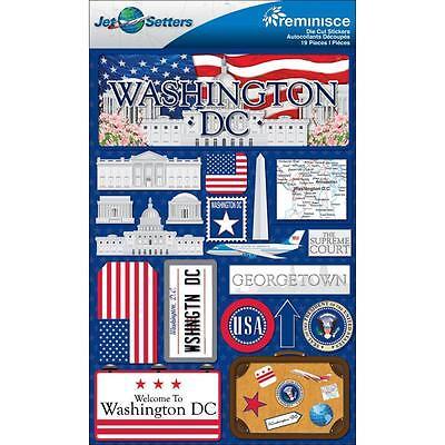 REMINISCE JET SETTERS WASHINGTON DC TRAVEL VACATION 3D SCRAPBOOK STICKERS