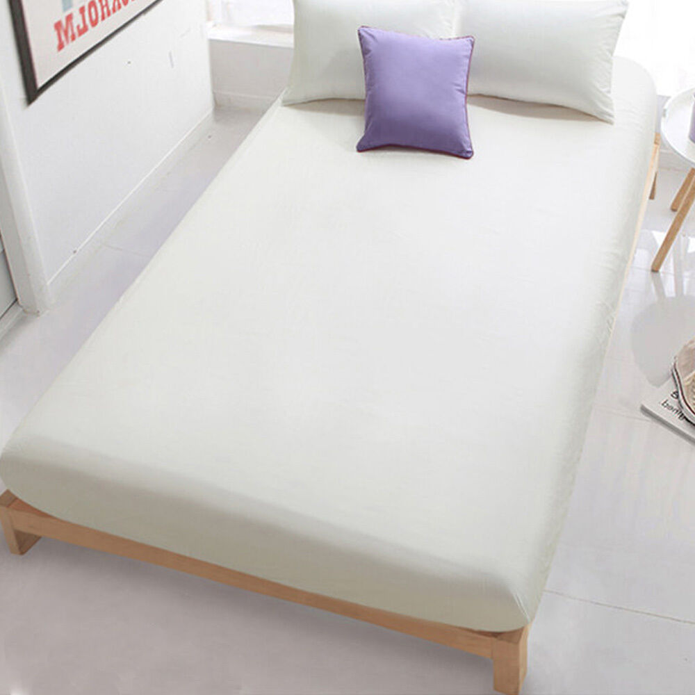 Solid color soft cotton flat fitted sheets bed coverlet How to put a fitted sheet on a bed