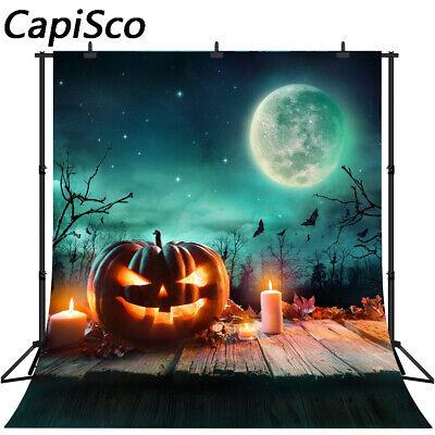 Halloween Photography Backdrop Pumpkin Castle Bats Moon Lamps Wall Background