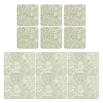 Pimpernel Marigold Green Placemats and Coasters Set Table Mat Cork Backed