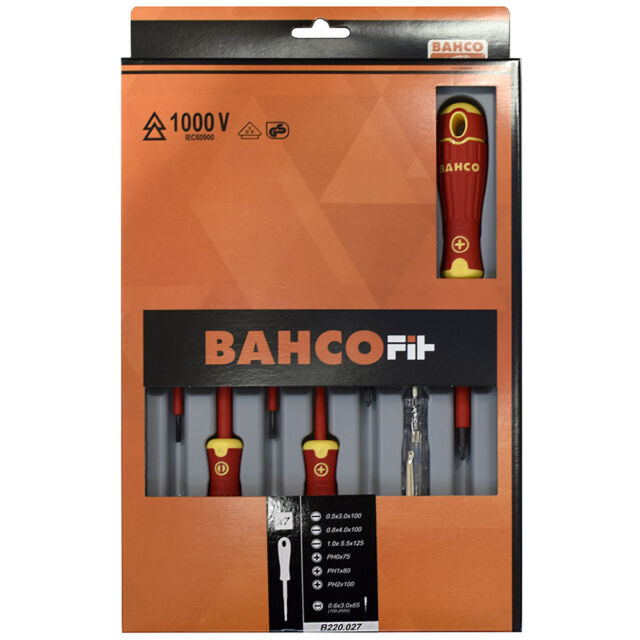 Bahco Fit Electricians VDE Insulated Slotted & Phillips Screwdriver Set 7 Piece
