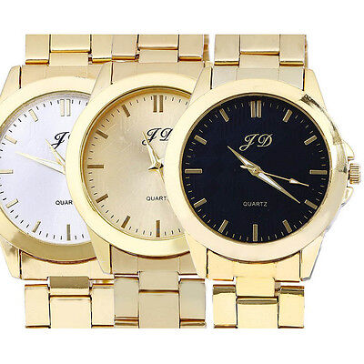 $4.48 - Luxury Mens Watches Gold Analog Quartz Stainless Steel Wrist Watch Gift LOT