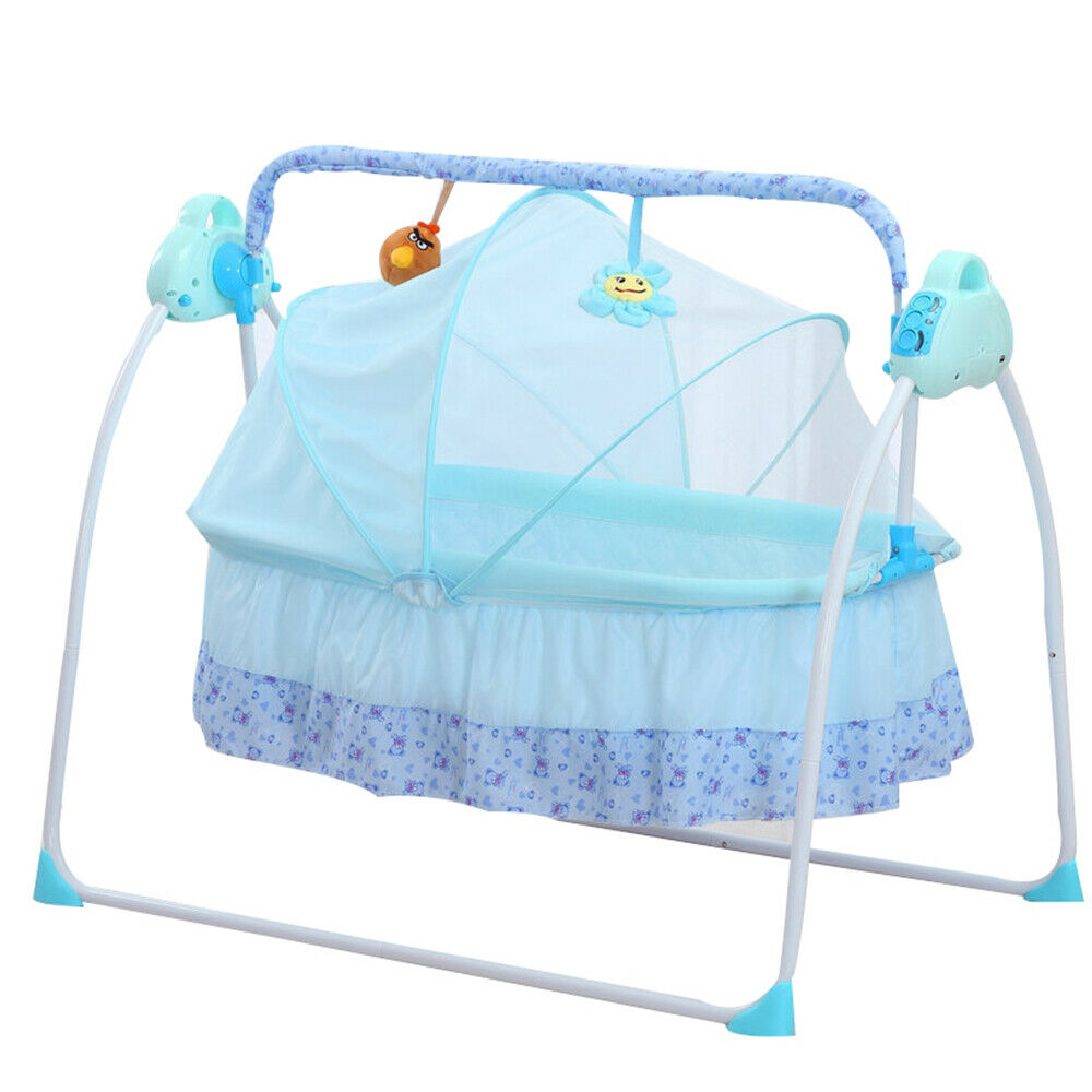 Electric Baby Crib Cradle Auto Swing Rocking Cot Sleeping