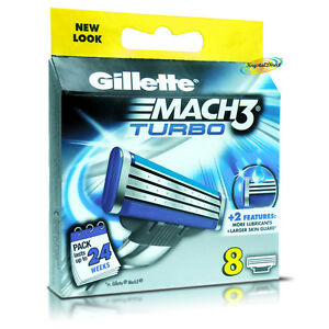 Gillette-Mach3-TURBO-Replacement-Blades-Pack-Of-8-Cartridges