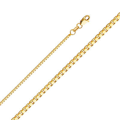 """Real Solid 14k Yellow Gold Necklace Box Chain 0.5 - 1.2 mm 16"""" 18 20 22 24"""" Inch"""
