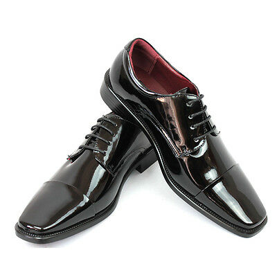 - New Men's Dress Tuxedo Shoes Black Cap Toe Patent Leather Shiny Lace Up Parrazo