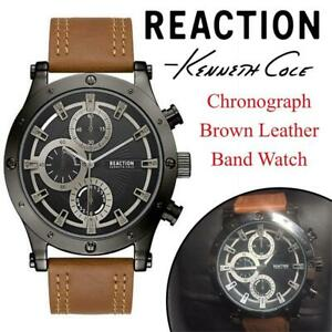 New Mens Kenneth Cole Reaction Chronograph Brown Leather Band Watch RKC0220003 Condition: New