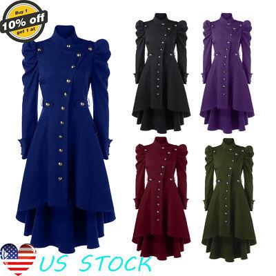 Vintage Women Steampunk Victorian Stand Neck Longline Dress Coats Stretch - Steampunk Jackets Women