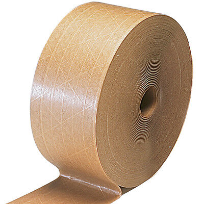 2 Rolls - Gum Tape Reinforced 2.75 X 375 Ft Kraft Paper Gummed Tape Freee Ship