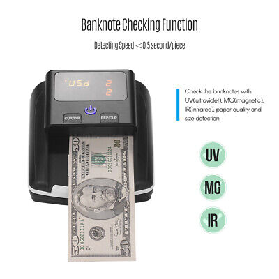 Banknote Bill Detector UV/MG/IR Detection Counterfeit Fake Money Cash Checker